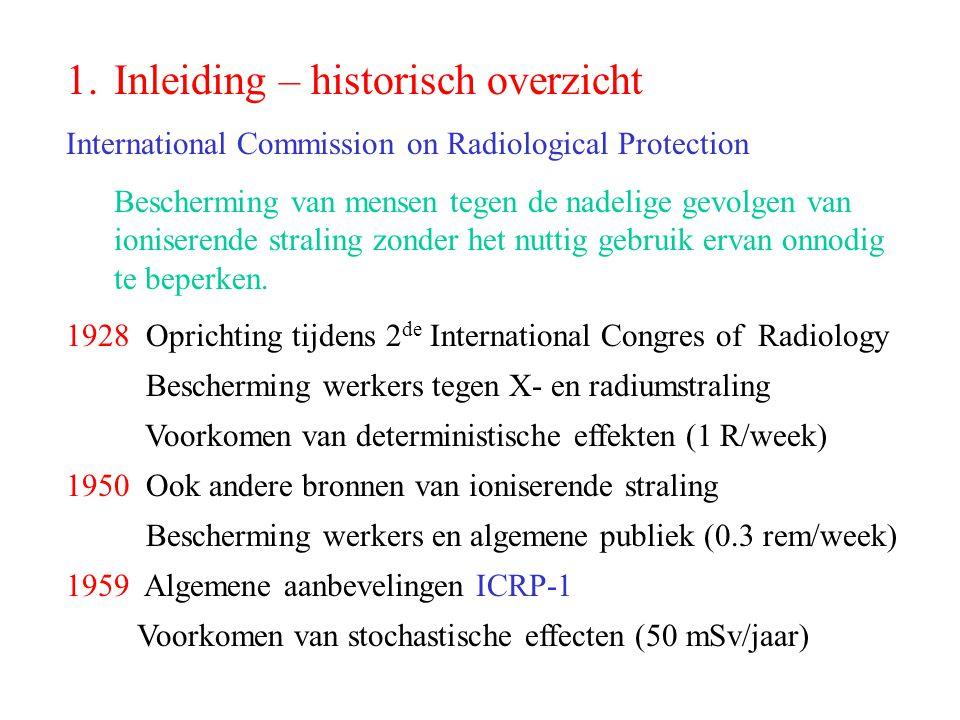 1.Inleiding – historisch overzicht International Commission on Radiological Protection Bescherming van mensen tegen de nadelige gevolgen van ioniseren
