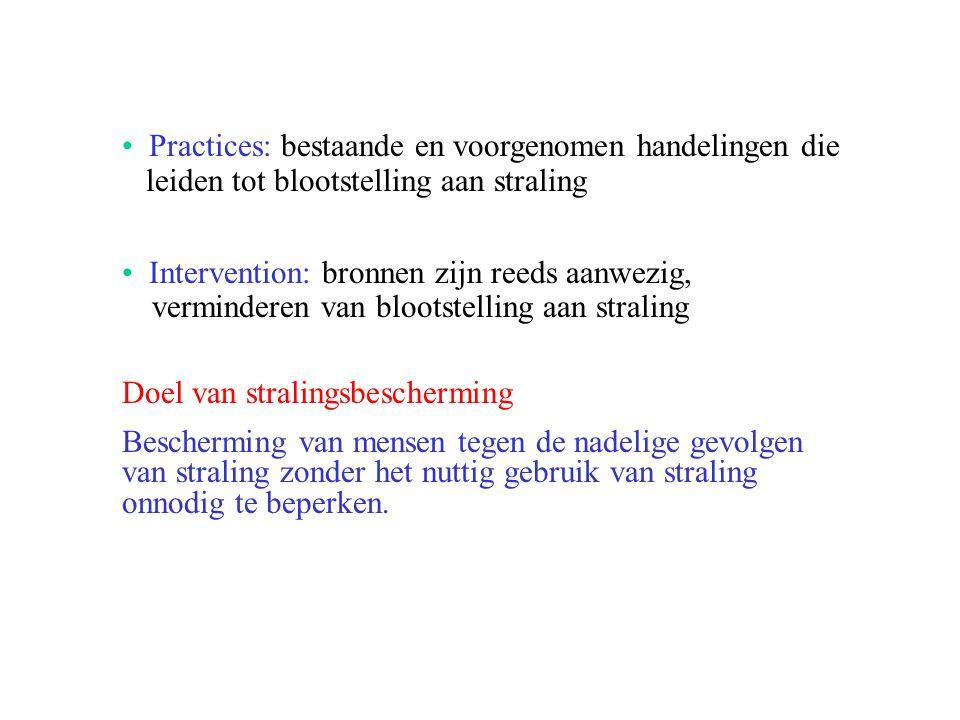 Practices: bestaande en voorgenomen handelingen die leiden tot blootstelling aan straling Intervention: bronnen zijn reeds aanwezig, verminderen van b