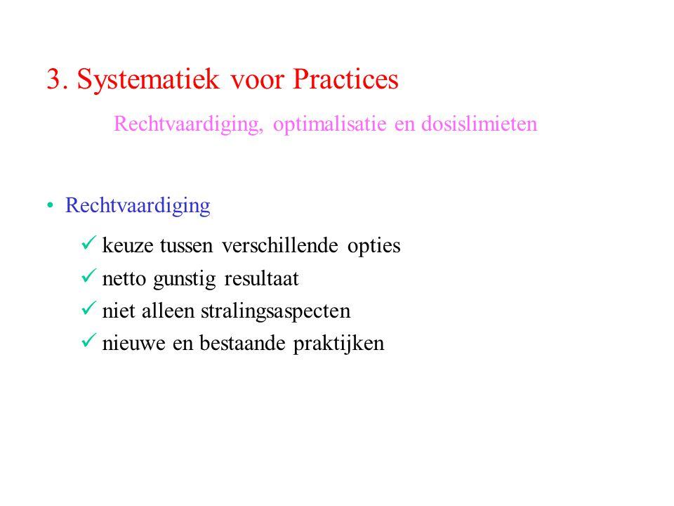 3. Systematiek voor Practices Rechtvaardiging, optimalisatie en dosislimieten Rechtvaardiging keuze tussen verschillende opties netto gunstig resultaa