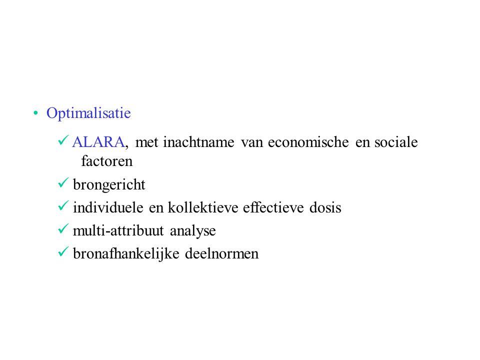 Optimalisatie ALARA, met inachtname van economische en sociale factoren brongericht individuele en kollektieve effectieve dosis multi-attribuut analys