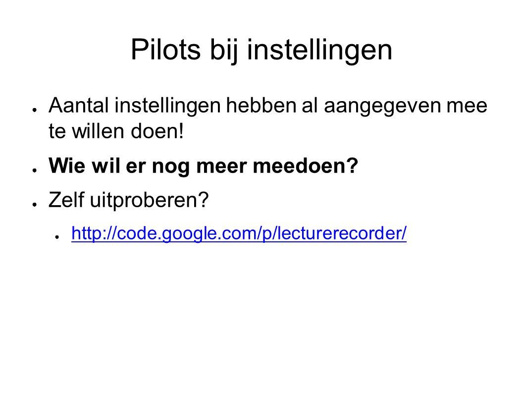 Pilots bij instellingen ● Aantal instellingen hebben al aangegeven mee te willen doen.