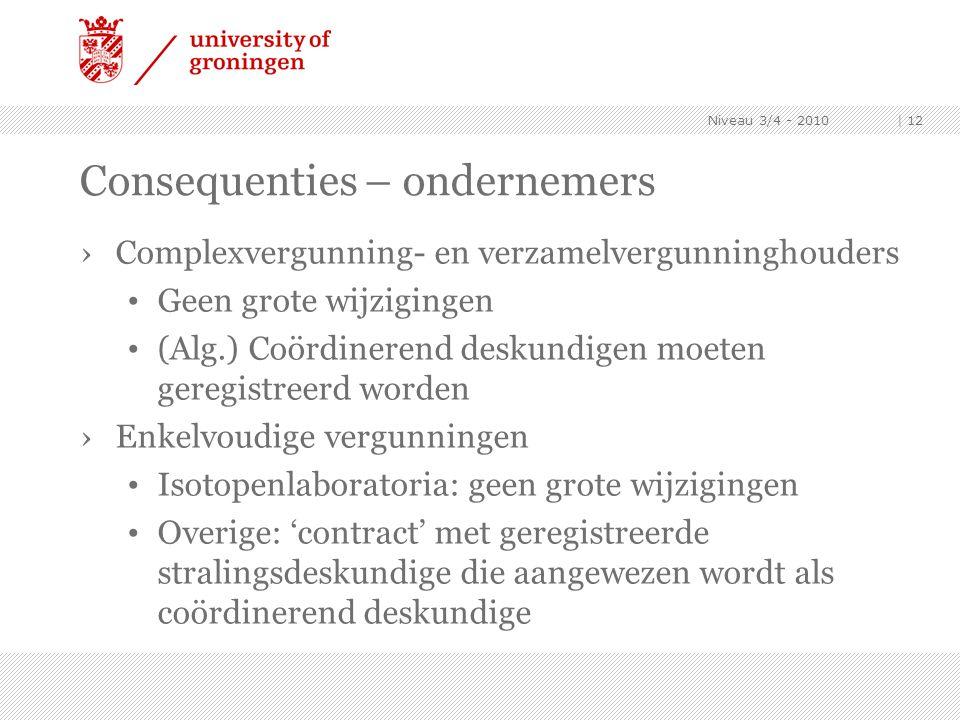 Niveau 3/4 - 2010 | 12 Consequenties – ondernemers ›Complexvergunning- en verzamelvergunninghouders Geen grote wijzigingen (Alg.) Coördinerend deskund