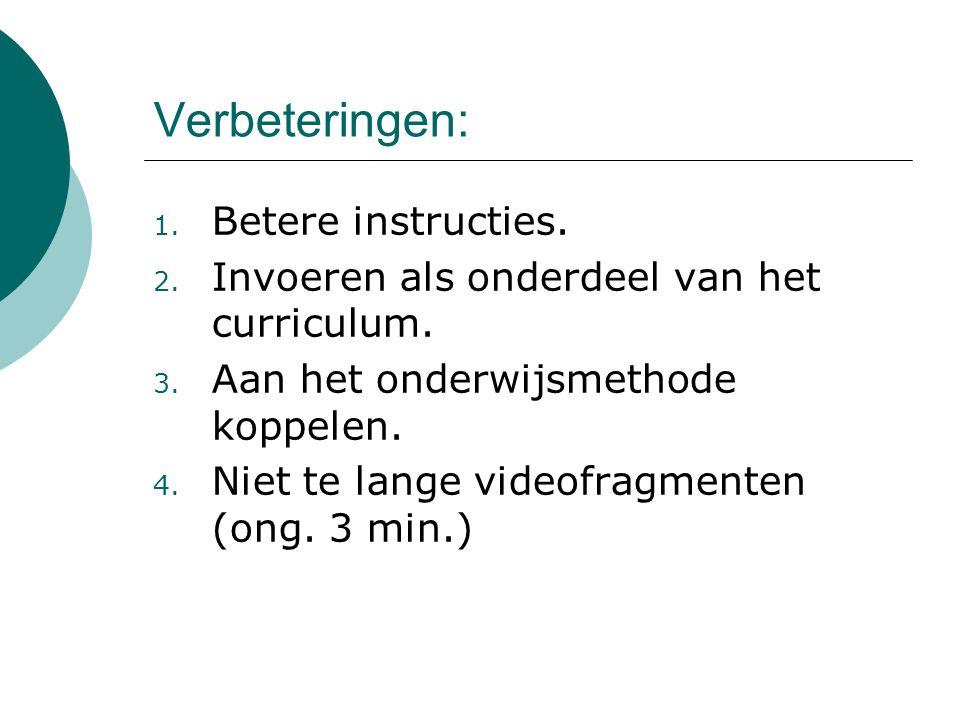 Verbeteringen: 1. Betere instructies. 2. Invoeren als onderdeel van het curriculum. 3. Aan het onderwijsmethode koppelen. 4. Niet te lange videofragme
