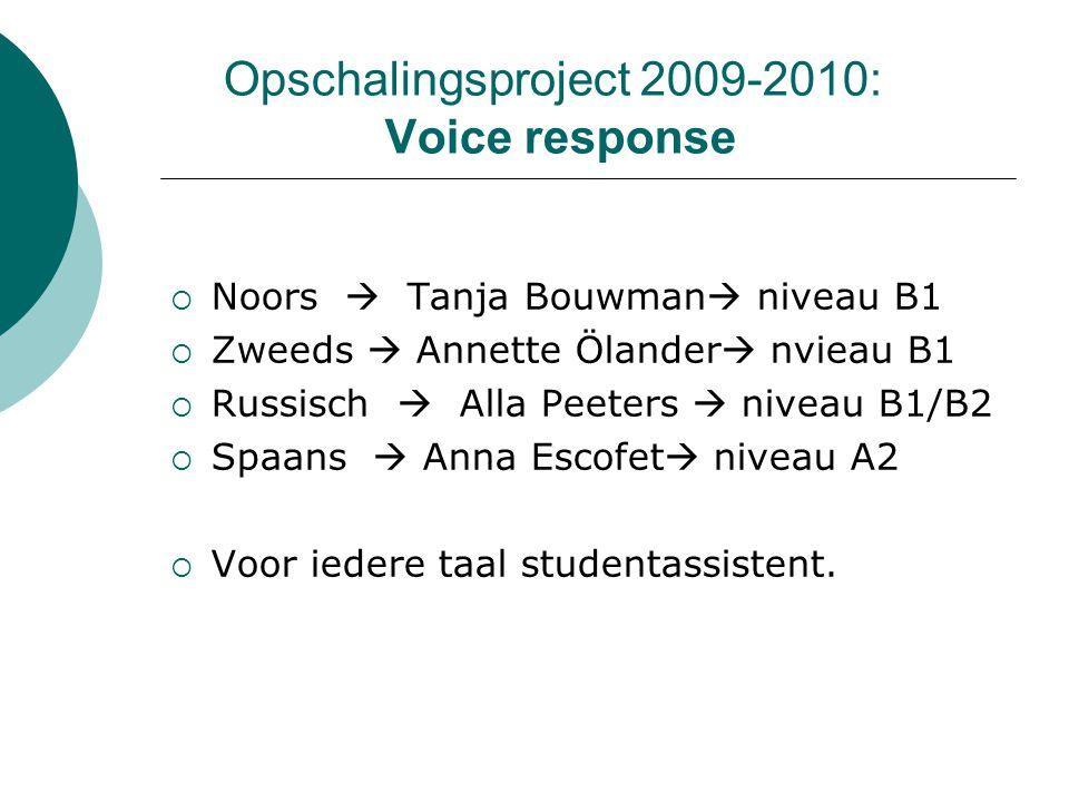 Opschalingsproject 2009-2010: Voice response  Noors  Tanja Bouwman  niveau B1  Zweeds  Annette Ölander  nvieau B1  Russisch  Alla Peeters  ni
