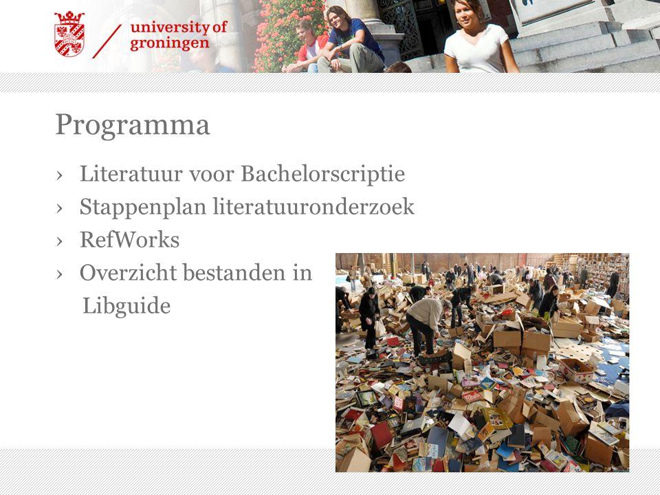 Programma ›Literatuur voor Bachelorscriptie ›Stappenplan literatuuronderzoek ›RefWorks ›Overzicht bestanden in Libguide
