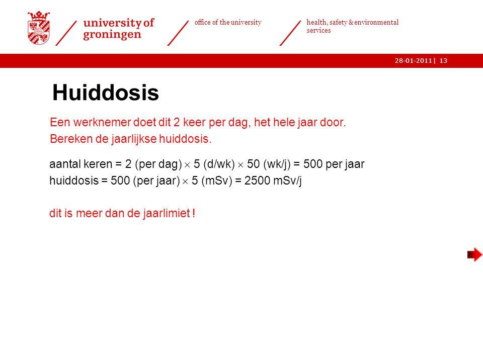| office of the university health, safety & environmental services 28-01-201113 Huiddosis  Een werknemer doet dit 2 keer per dag, het hele jaar door.