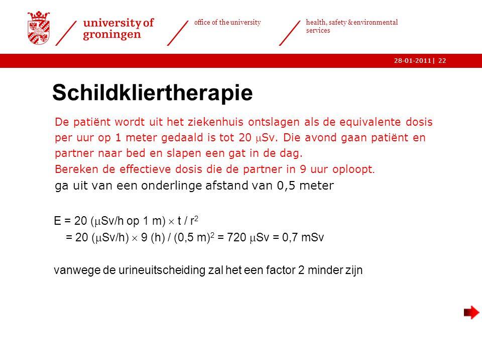 | office of the university health, safety & environmental services 28-01-201122 Schildkliertherapie  De patiënt wordt uit het ziekenhuis ontslagen als de equivalente dosis per uur op 1 meter gedaald is tot 20 Sv.