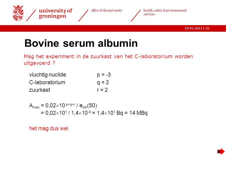 | office of the university health, safety & environmental services 28-01-201126 Bovine serum albumin Mag het experiment in de zuurkast van het C-laboratorium worden uitgevoerd .