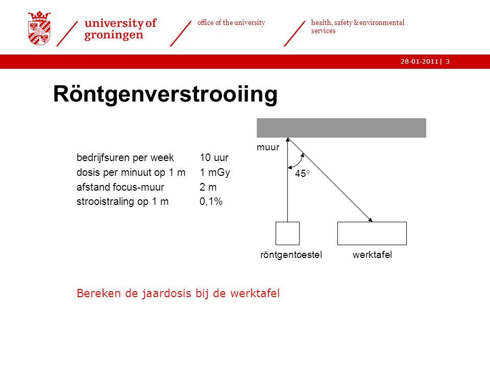 | office of the university health, safety & environmental services 28-01-20113 Röntgenverstrooiing bedrijfsuren per week10 uur dosis per minuut op 1 m