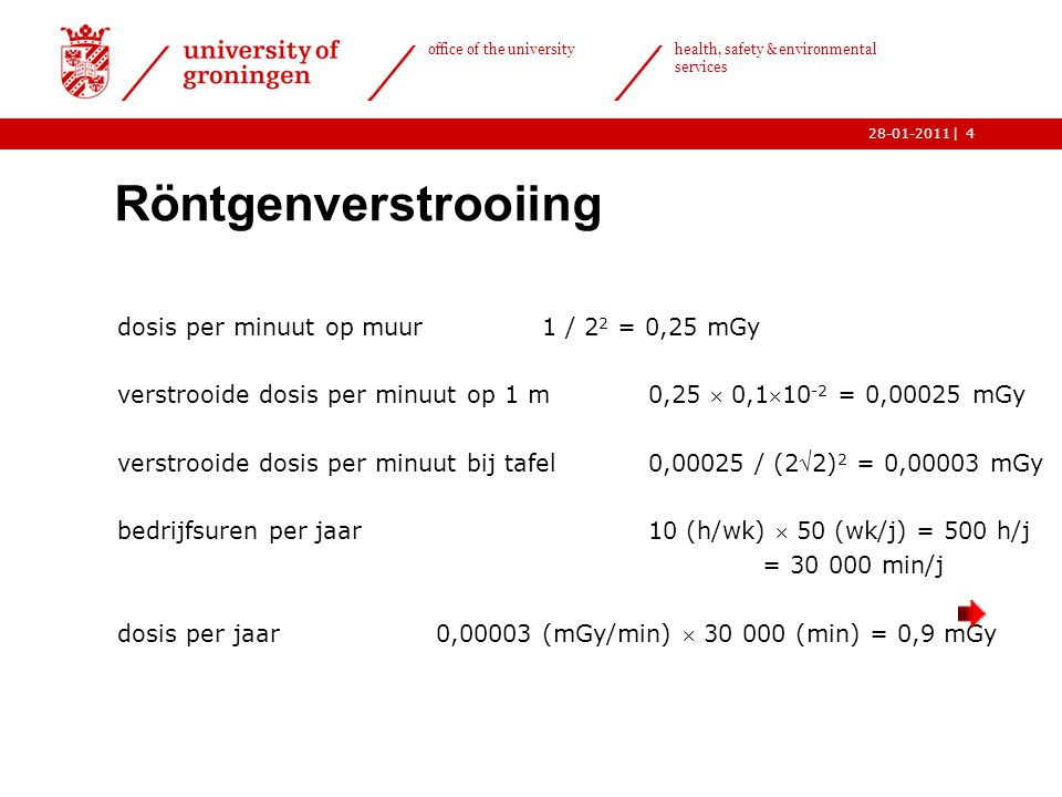 | office of the university health, safety & environmental services 28-01-20114 Röntgenverstrooiing  dosis per minuut op muur1 / 2 2 = 0,25 mGy verstr