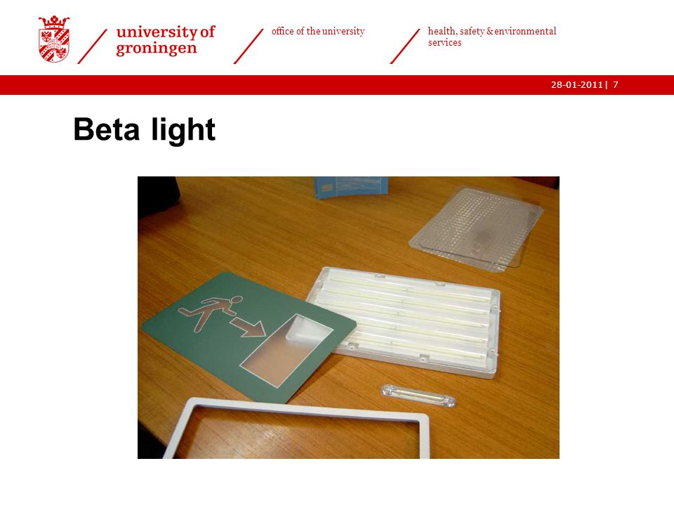 | office of the university health, safety & environmental services 28-01-20117 Beta light