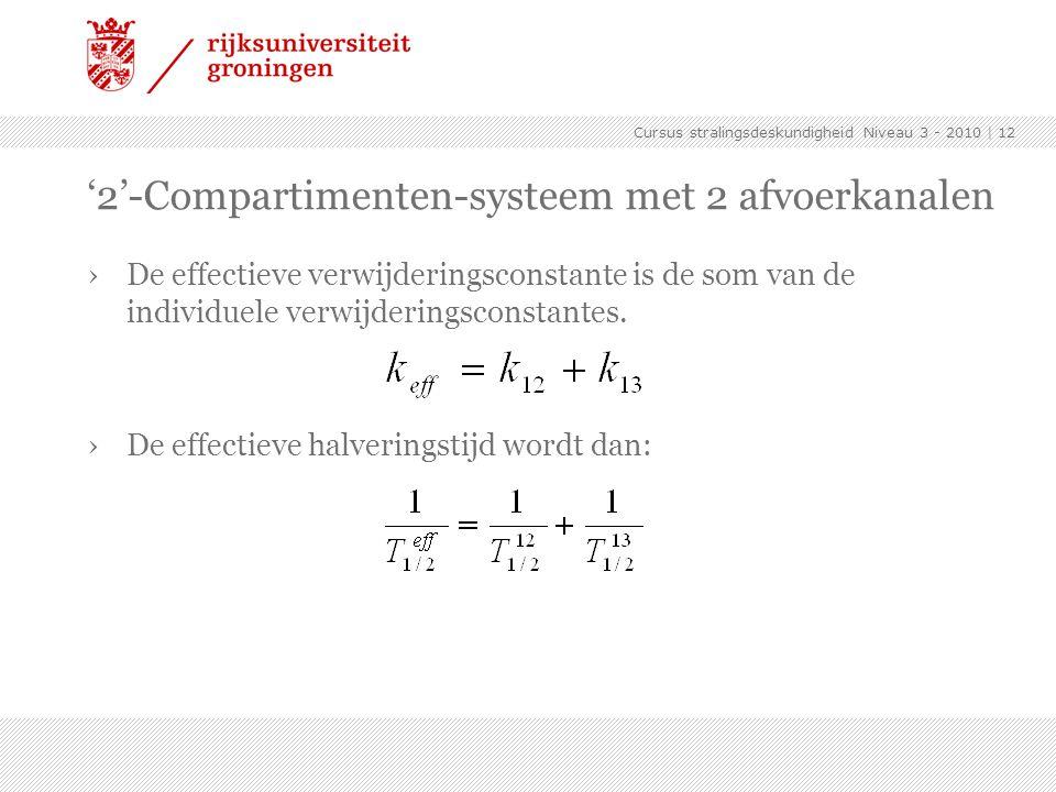 Cursus stralingsdeskundigheid Niveau 3 - 2010 | 12 '2'-Compartimenten-systeem met 2 afvoerkanalen ›De effectieve verwijderingsconstante is de som van de individuele verwijderingsconstantes.