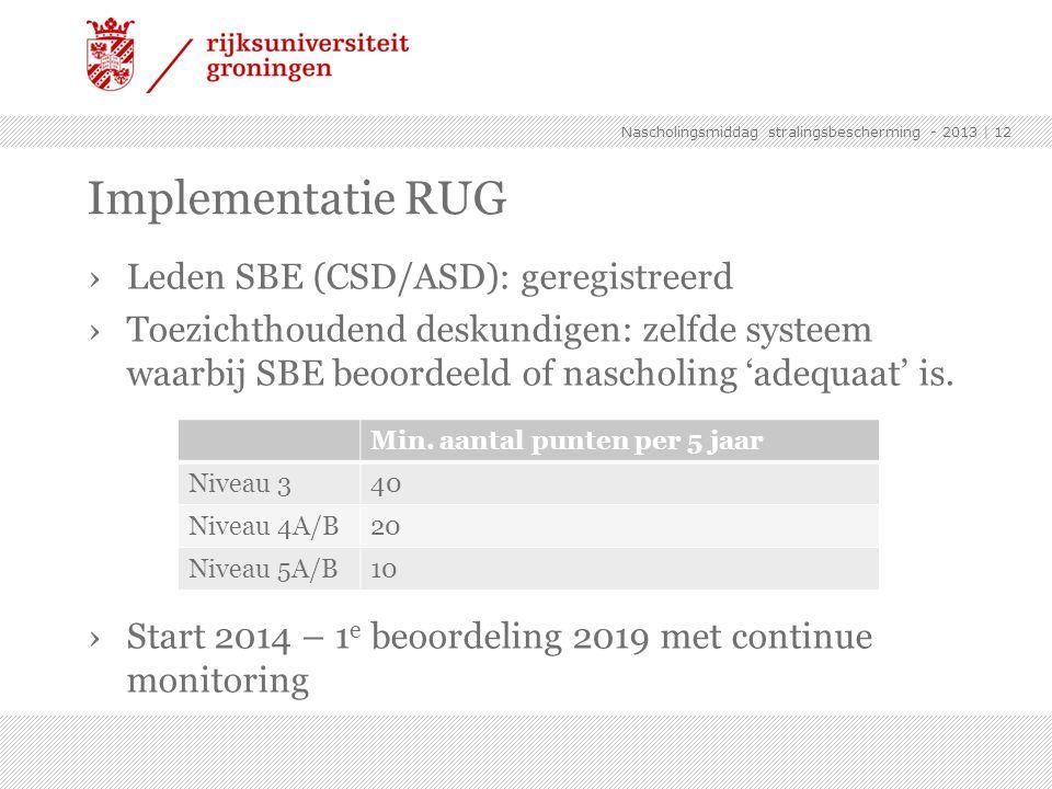 ›Leden SBE (CSD/ASD): geregistreerd ›Toezichthoudend deskundigen: zelfde systeem waarbij SBE beoordeeld of nascholing 'adequaat' is. ›Start 2014 – 1 e