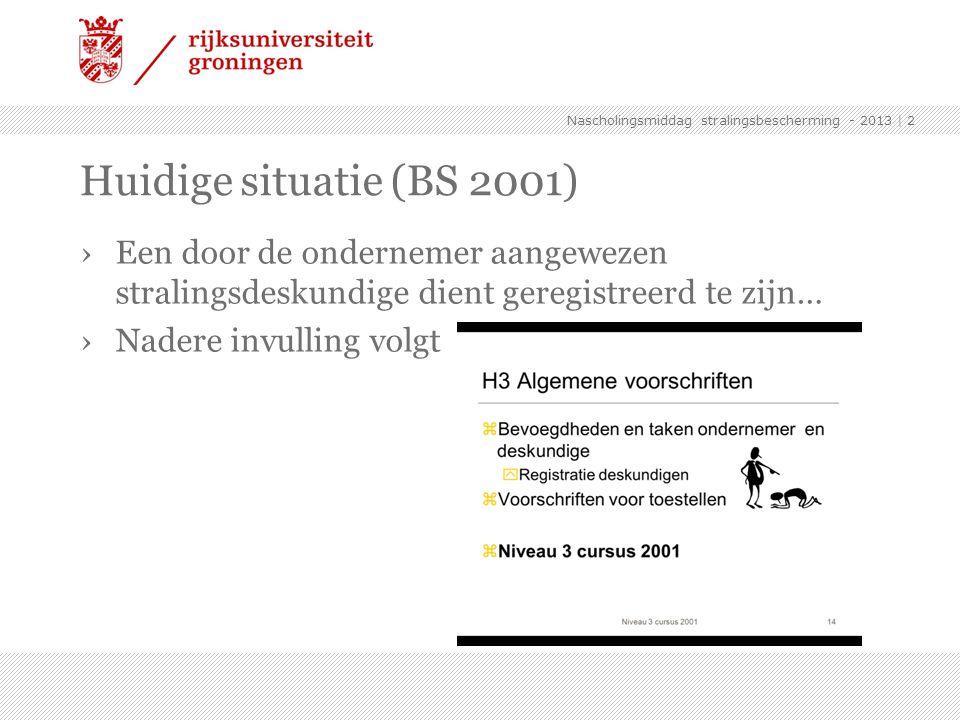 ›Een door de ondernemer aangewezen stralingsdeskundige dient geregistreerd te zijn… ›Nadere invulling volgt | 2 Huidige situatie (BS 2001) Nascholings