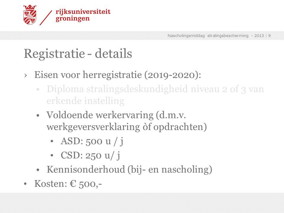 ›Eisen voor herregistratie (2019-2020): Diploma stralingsdeskundigheid niveau 2 of 3 van erkende instelling Voldoende werkervaring (d.m.v. werkgeversv
