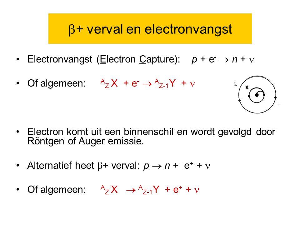  + verval en electronvangst Electronvangst (Electron Capture): p + e -  n + Of algemeen: A Z X + e -  A Z-1 Y + Electron komt uit een binnenschil en wordt gevolgd door Röntgen of Auger emissie.
