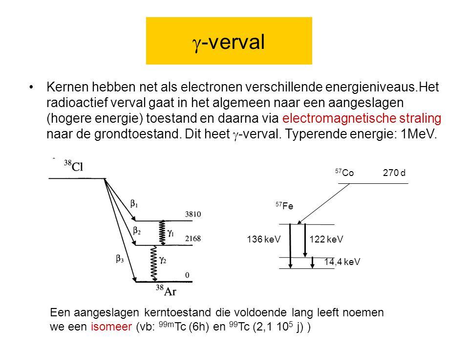  -verval Kernen hebben net als electronen verschillende energieniveaus.Het radioactief verval gaat in het algemeen naar een aangeslagen (hogere energie) toestand en daarna via electromagnetische straling naar de grondtoestand.