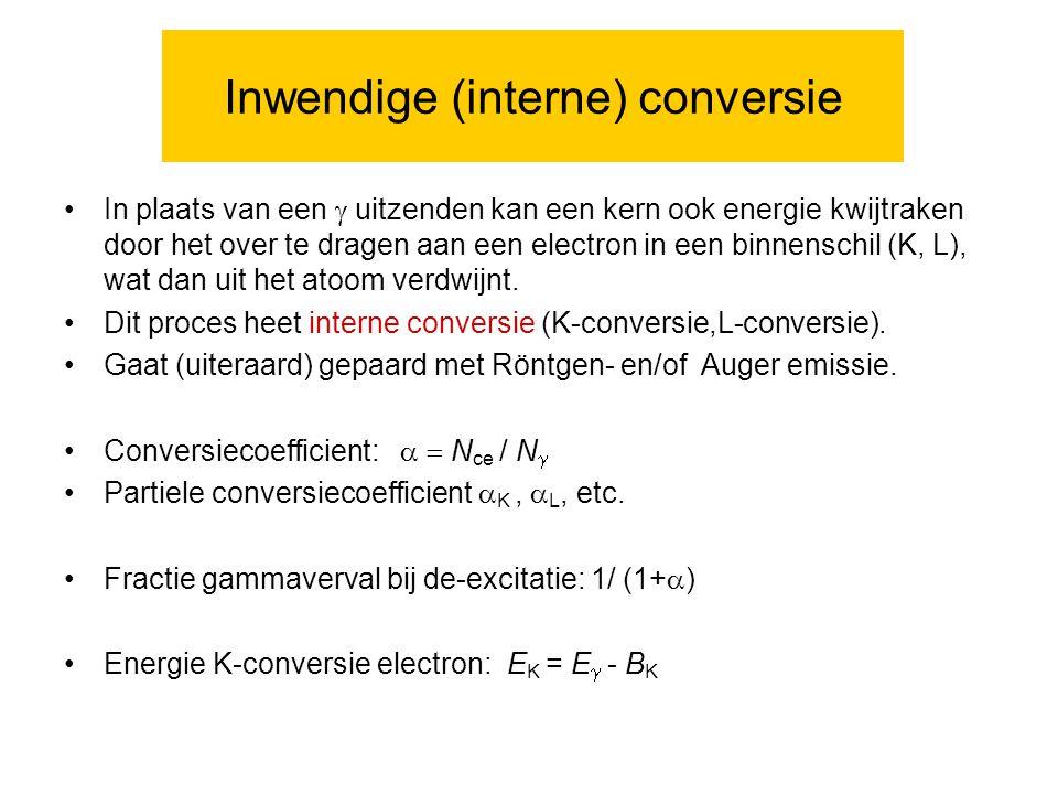 Inwendige (interne) conversie In plaats van een  uitzenden kan een kern ook energie kwijtraken door het over te dragen aan een electron in een binnenschil (K, L), wat dan uit het atoom verdwijnt.