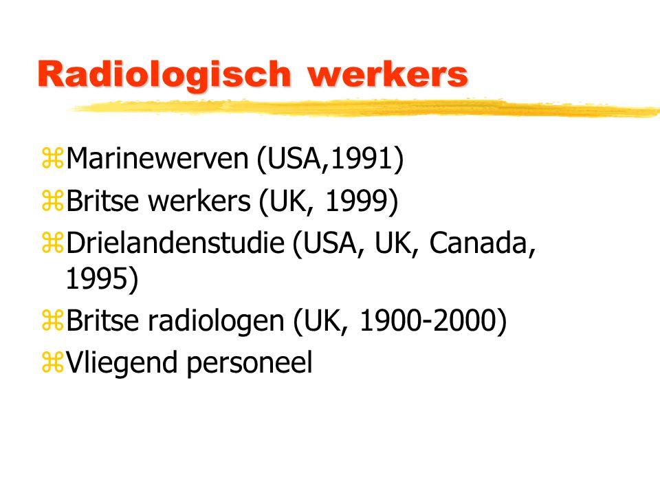 Radiologisch werkers zMarinewerven (USA,1991) zBritse werkers (UK, 1999) zDrielandenstudie (USA, UK, Canada, 1995) zBritse radiologen (UK, 1900-2000) zVliegend personeel