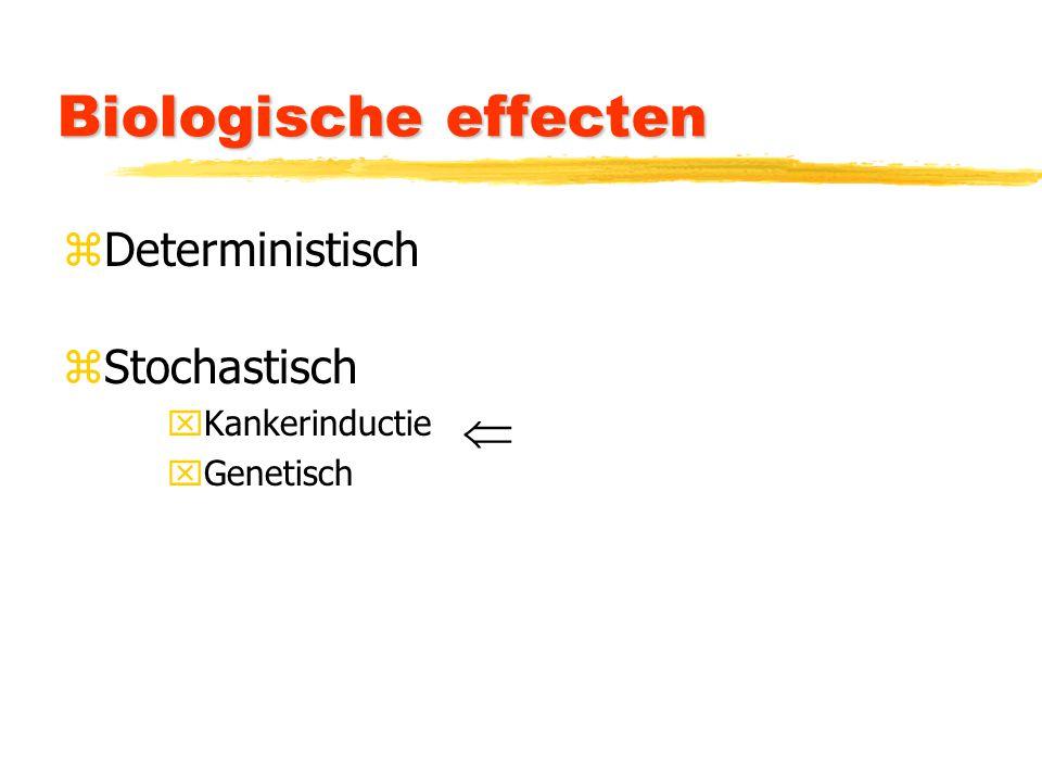 Biologische effecten zDeterministisch zStochastisch xKankerinductie xGenetisch 