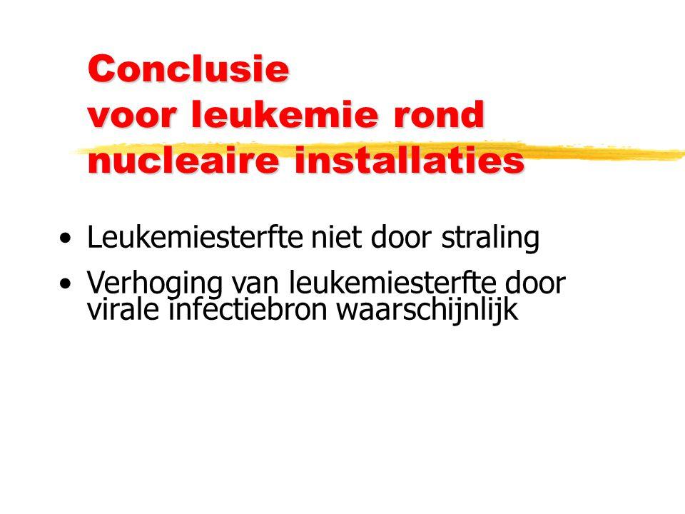 Conclusie voor leukemie rond nucleaire installaties Leukemiesterfte niet door straling Verhoging van leukemiesterfte door virale infectiebron waarschijnlijk