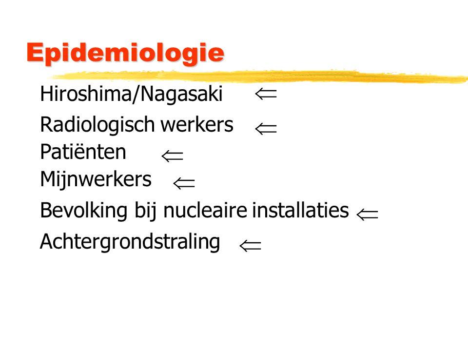 Epidemiologie Hiroshima/Nagasaki Patiënten Mijnwerkers Radiologisch werkers Bevolking bij nucleaire installaties Achtergrondstraling      