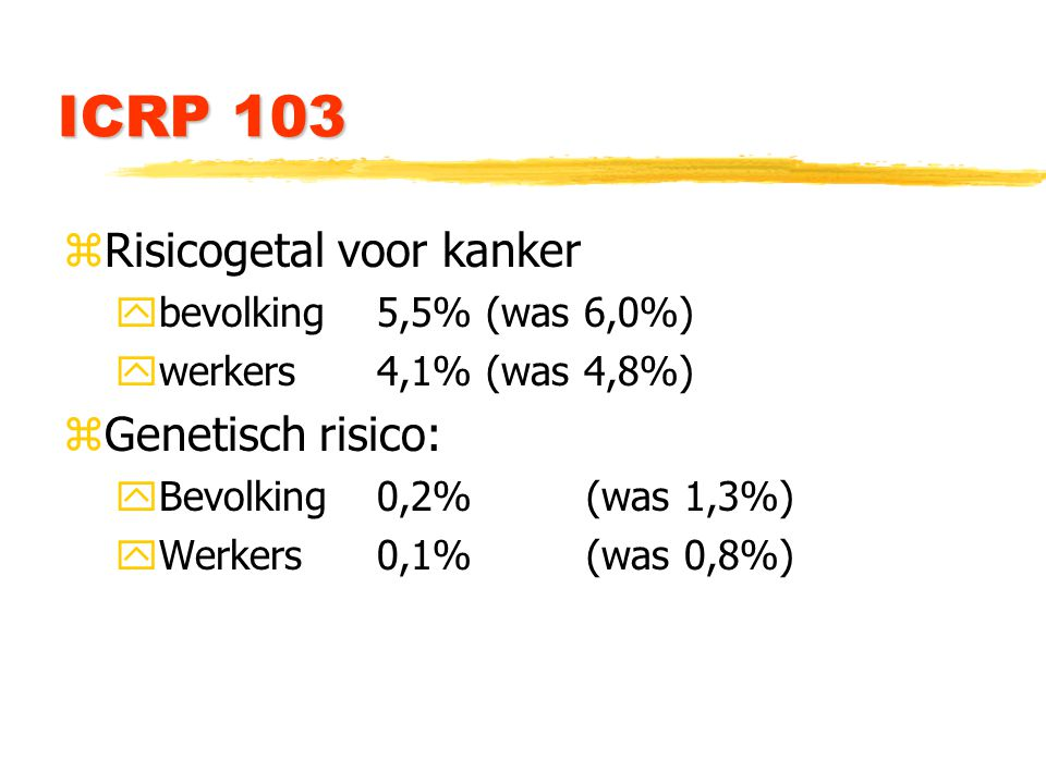 ICRP 103 zRisicogetal voor kanker ybevolking 5,5% (was 6,0%) ywerkers 4,1% (was 4,8%) zGenetisch risico: yBevolking0,2%(was 1,3%) yWerkers0,1%(was 0,8%)