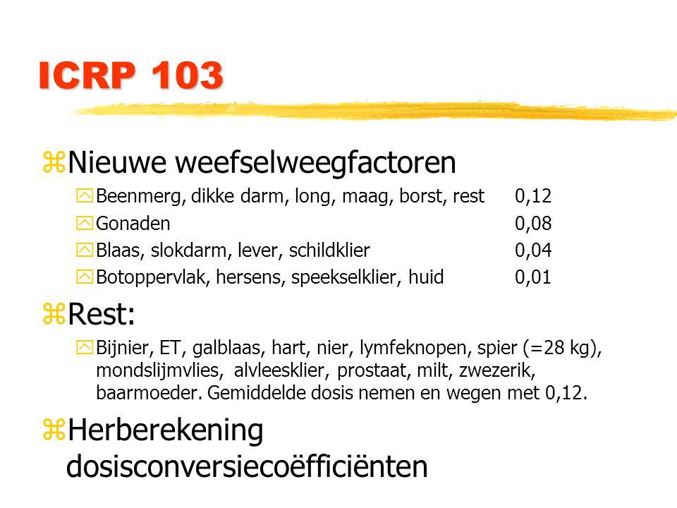 ICRP 103 zNieuwe weefselweegfactoren yBeenmerg, dikke darm, long, maag, borst, rest0,12 yGonaden0,08 yBlaas, slokdarm, lever, schildklier0,04 yBotoppervlak, hersens, speekselklier, huid0,01 zRest: yBijnier, ET, galblaas, hart, nier, lymfeknopen, spier (=28 kg), mondslijmvlies, alvleesklier, prostaat, milt, zwezerik, baarmoeder.