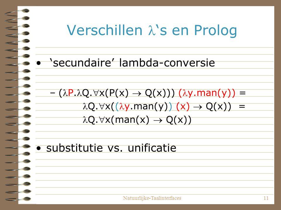 Natuurlijke-Taalinterfaces11 Verschillen 's en Prolog 'secundaire' lambda-conversie –(P.Q.x(P(x)  Q(x))) (y.man(y)) = Q.x((y.man(y)) (x)  Q(x)) = Q.x(man(x)  Q(x)) substitutie vs.