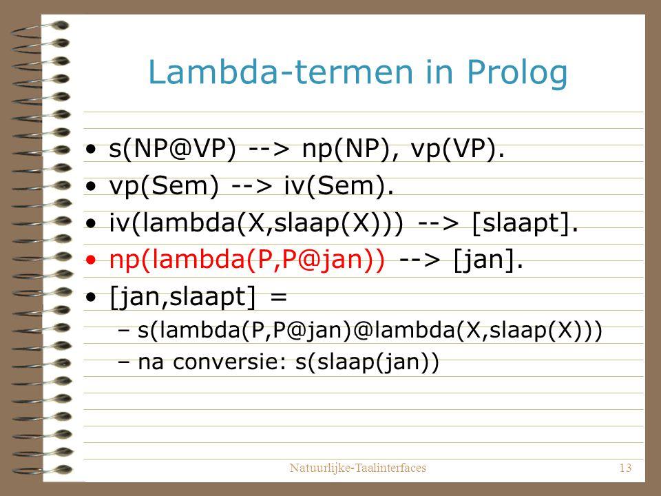 Natuurlijke-Taalinterfaces13 Lambda-termen in Prolog s(NP@VP) --> np(NP), vp(VP).