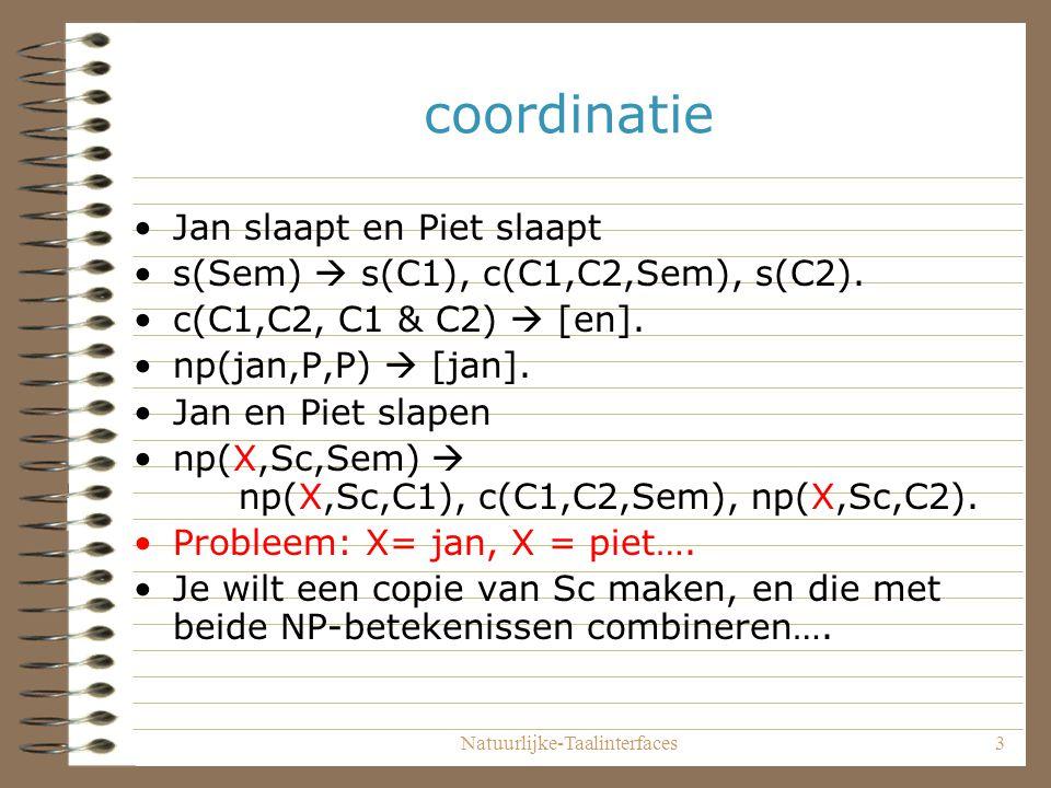 Natuurlijke-Taalinterfaces3 coordinatie Jan slaapt en Piet slaapt s(Sem)  s(C1), c(C1,C2,Sem), s(C2).