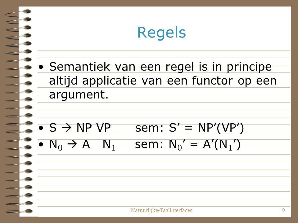 Natuurlijke-Taalinterfaces9 Regels Semantiek van een regel is in principe altijd applicatie van een functor op een argument.