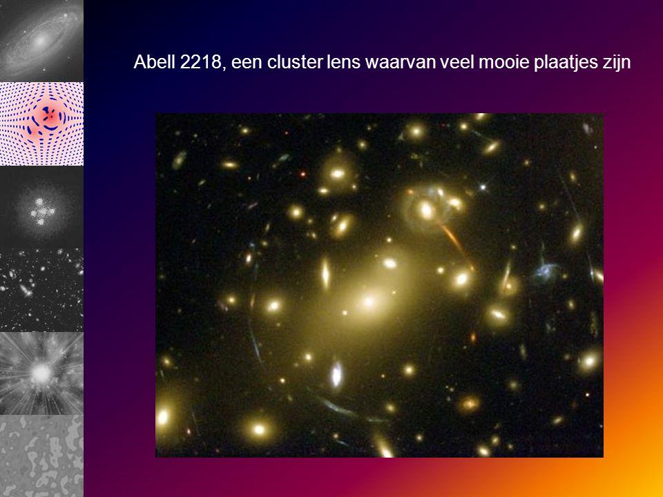 Abell 2218, een cluster lens waarvan veel mooie plaatjes zijn