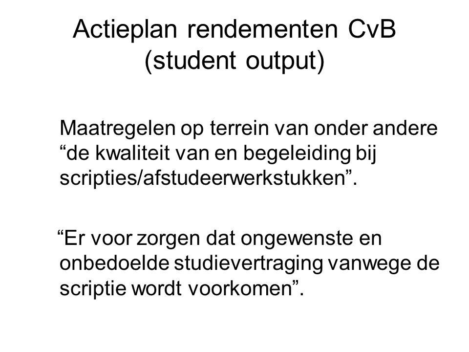 Actieplan rendementen CvB (student output) Maatregelen op terrein van onder andere de kwaliteit van en begeleiding bij scripties/afstudeerwerkstukken .