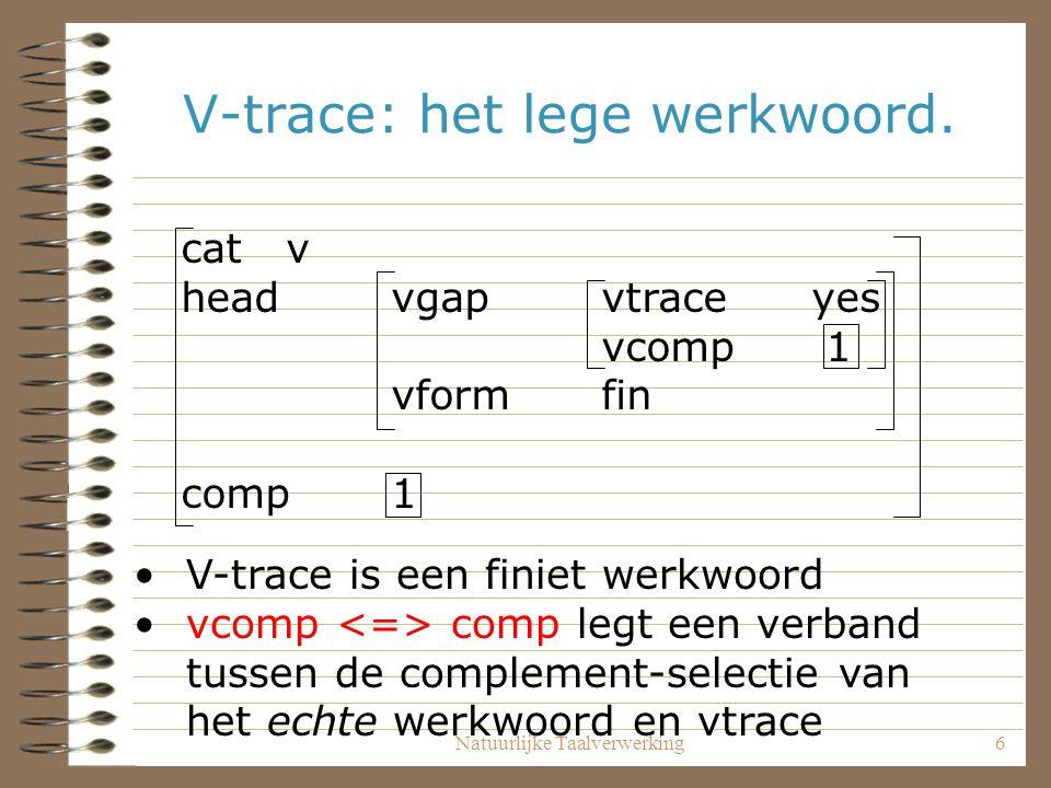 Natuurlijke Taalverwerking6 V-trace: het lege werkwoord. catv headvgapvtraceyes vcomp 1 vformfin comp 1 V-trace is een finiet werkwoord vcomp comp leg
