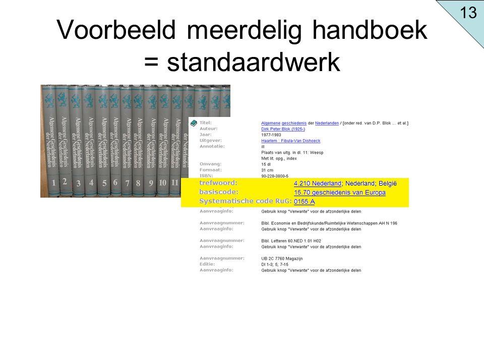 Voorbeeld meerdelig handboek = standaardwerk 13