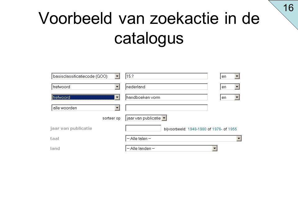 Voorbeeld van zoekactie in de catalogus 16
