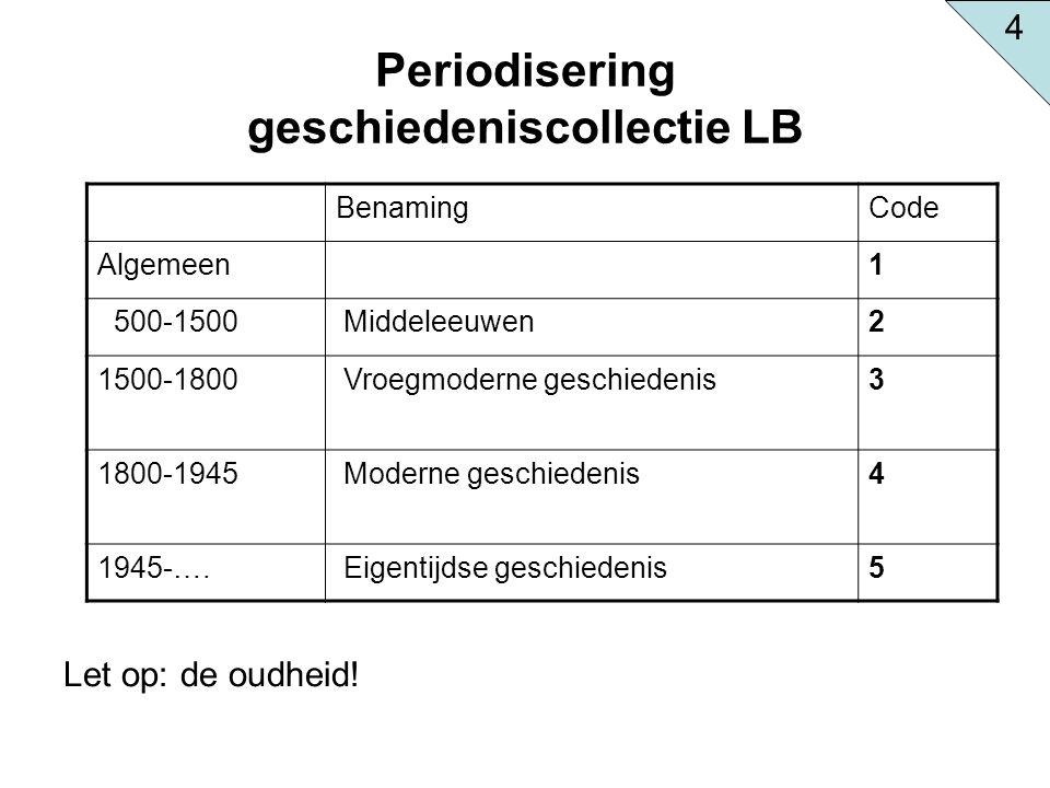 Periodisering geschiedeniscollectie LB Let op: de oudheid! BenamingCode Algemeen1 500-1500 Middeleeuwen2 1500-1800 Vroegmoderne geschiedenis3 1800-194