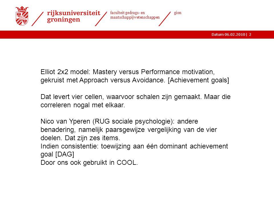 |Datum 06.02.2010 faculteit gedrags- en maatschappijwetenschappen gion 2 Elliot 2x2 model: Mastery versus Performance motivation, gekruist met Approac