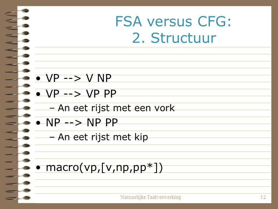 Natuurlijke Taalverwerking12 FSA versus CFG: 2. Structuur VP --> V NP VP --> VP PP –An eet rijst met een vork NP --> NP PP –An eet rijst met kip macro
