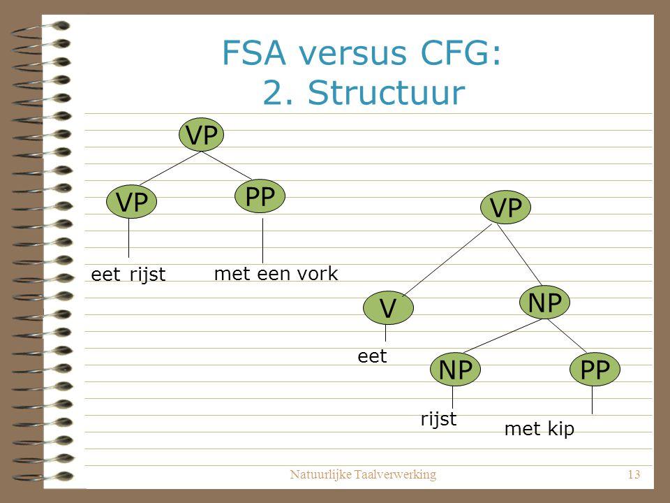 Natuurlijke Taalverwerking13 FSA versus CFG: 2. Structuur VP PP VP V NP PP eet rijst met een vork eet rijst met kip