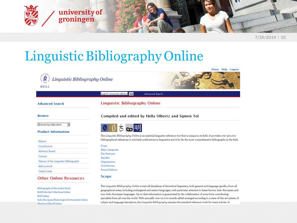 7/26/2014 | 10 Linguistic Bibliography Online Encyclopedie wereldliteratuur