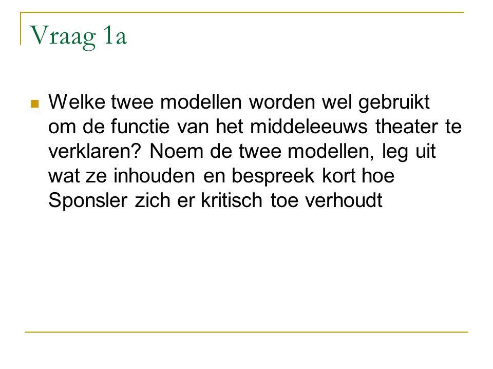 Vraag 1a Welke twee modellen worden wel gebruikt om de functie van het middeleeuws theater te verklaren.