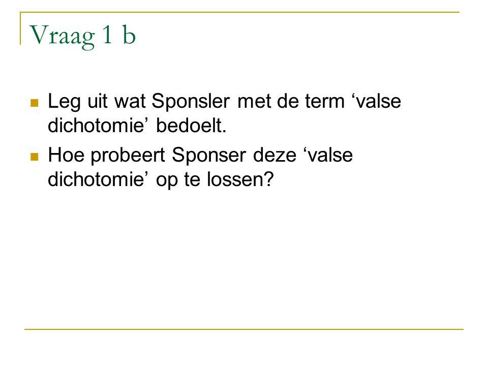 Vraag 1 b Leg uit wat Sponsler met de term 'valse dichotomie' bedoelt.