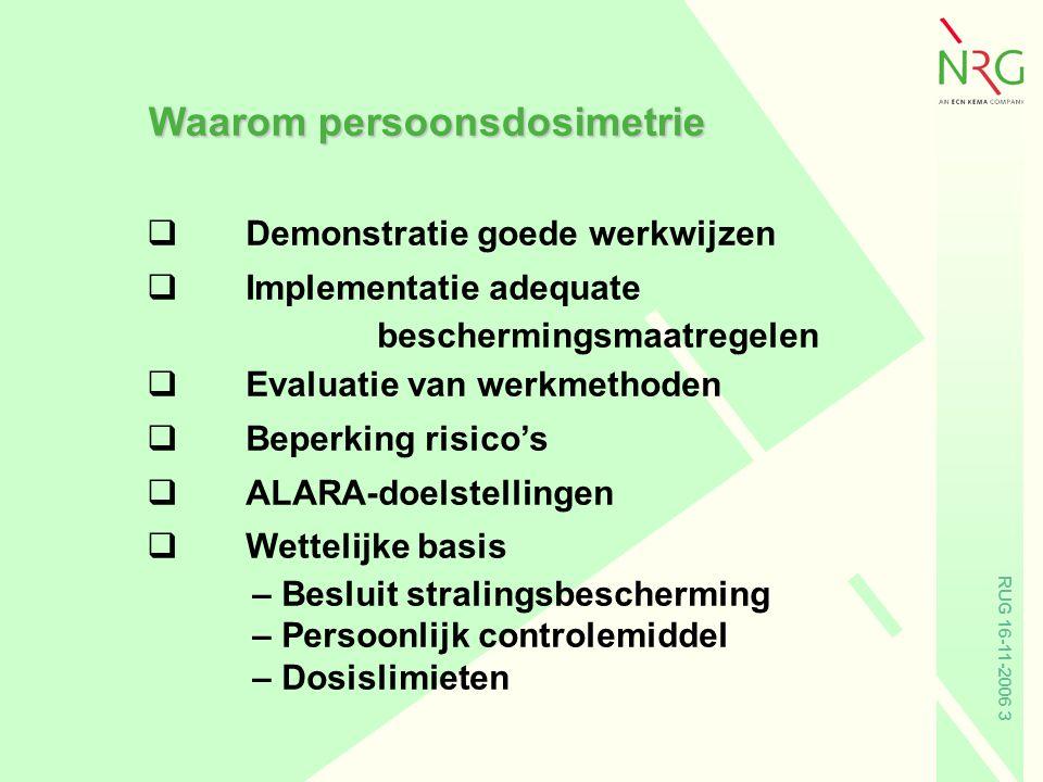 RUG 16-11-2006 3 Waarom persoonsdosimetrie qDemonstratie goede werkwijzen qImplementatie adequate beschermingsmaatregelen qEvaluatie van werkmethoden