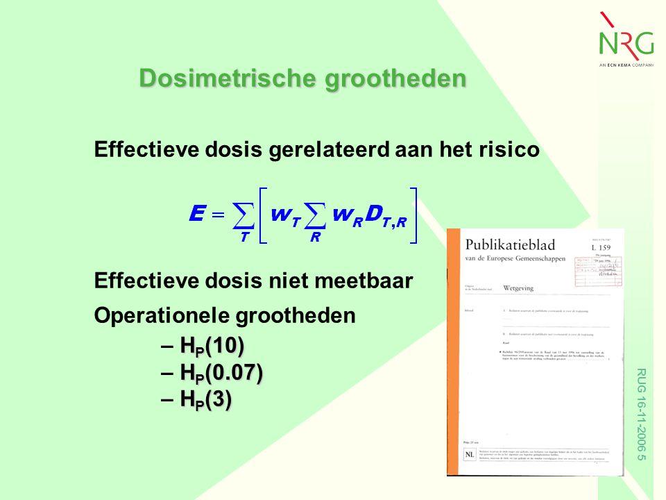 RUG 16-11-2006 5 Effectieve dosis gerelateerd aan het risico Effectieve dosis niet meetbaar Operationele grootheden H P (10) – H P (10) H P (0.07) – H