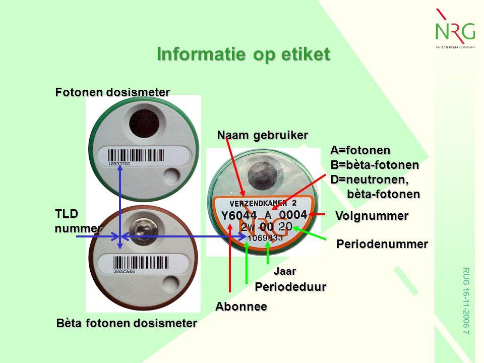 RUG 16-11-2006 7 Informatie op etiket Naam gebruiker Abonnee A=fotonenB=bèta-fotonenD=neutronen, bèta-fotonen bèta-fotonen Periodeduur Jaar Periodenum