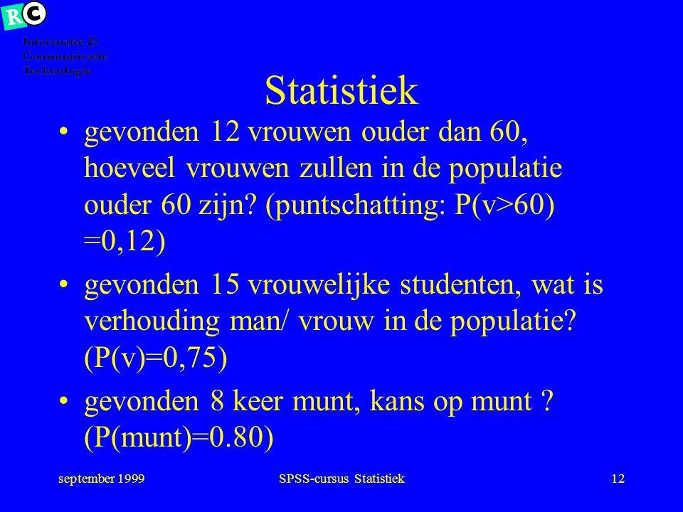 september 1999SPSS-cursus Statistiek11 Statistiek Schatten uit uitkomsten van een steekproef schatting maken van de werkelijkheid (populatie)