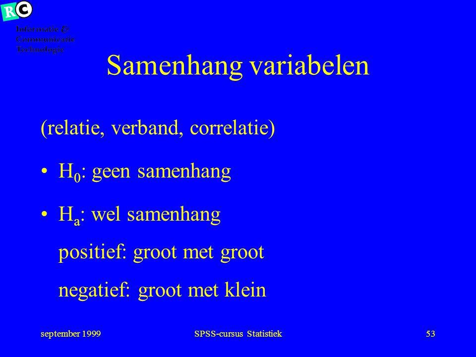 september 1999SPSS-cursus Statistiek52 Toetsing H o : geen verschil H a : 1 of 2-zijdige verandering interval: Student t-toets match ordinaal: Wilcoxo
