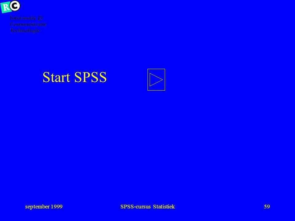 september 1999SPSS-cursus Statistiek58 Samenhang als variabele verschillend niveau is laagste bepalend